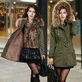 Зимние Пальто Женщины базовая пальто Реального Большой Енота Меховым Воротником толстые Дамы Парки Army Green Push Up Размер S-2xl Куртки женщины