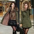 Winter Coats Women basic coats Real Large Raccoon Fur Collar Thick Ladies Parkas Army Green Push Up Size S-2xl Jacket Women