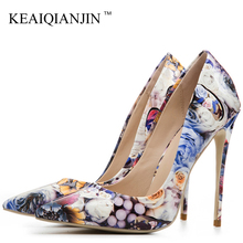 KEAIQIANJIN Woman High Heels Valentine Shoes Big Size 33 43 44 45 Golden Wedding 12 CM High Heels Shoes Pointed Toe Sexy Pumps cocoafoal woman silver high heels shoes stiletto plus size 33 43 44 wedding silver gold pumps pointed toe sexy valentine shoes