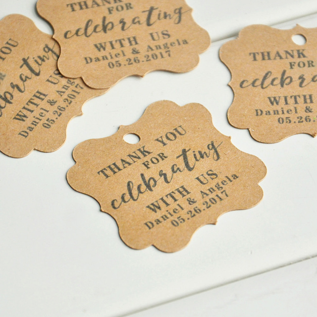 Us 15 99 Personalized Wedding Favors Wedding Favors Kraft Tag Personalised Custom Wedding Tags Thank You Tags 50 100pcs In Party Diy Decorations