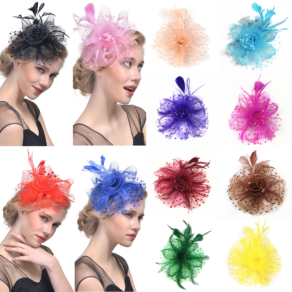 2019 Elegant Flower Feather Beads Mesh Corsage Hair Clip Party Wedding Bridal Mesh Hair Accessories Headdress   Headwear   Tiara Hat