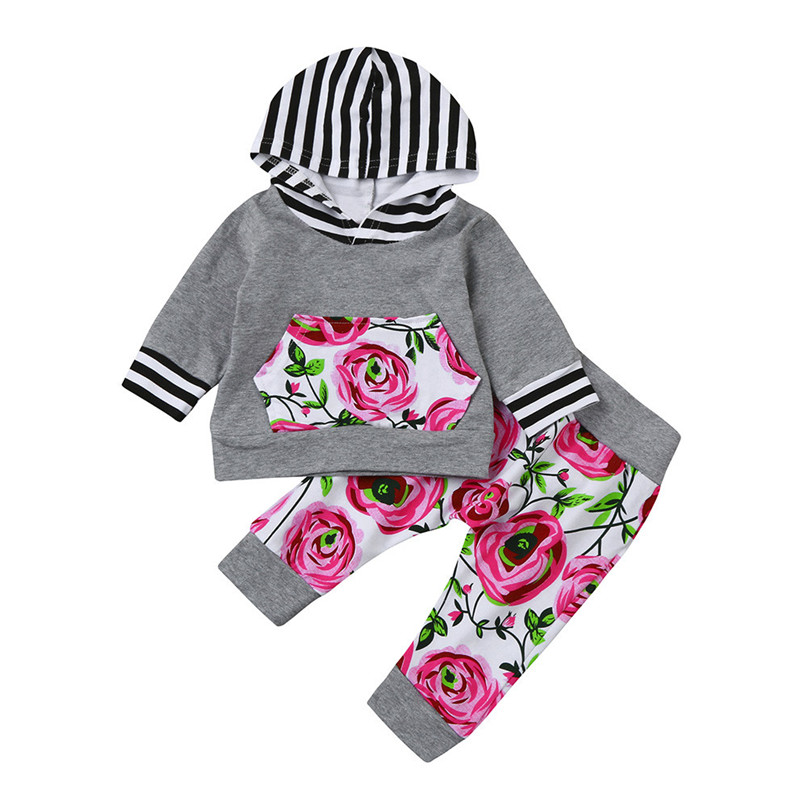 Gray Color 2017 Lovely 2pcs Toddler Baby Boy Girl Clothes Set Floral Hoodie Tops+Pants Outfits drop shipped ST28 2pcs set baby clothes set boy
