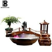 110 В 240 В китайский Стиль Zen течет фонтан керамики аквариум Лаки Фэн шуй настольные украшения увлажнитель воздуха для офиса подарки