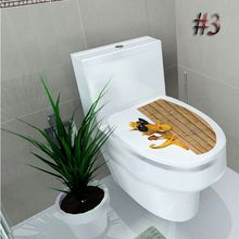 Sticker Pan WC Pedestal cover stool Toilet Commode Sticker home decor bathroom Printed 3D flower views