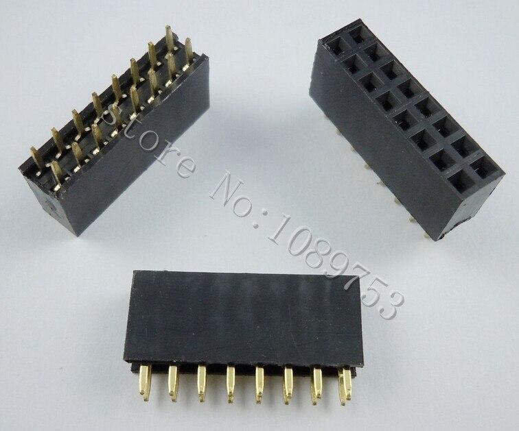 100pcs 2x8 Pin 2.54mm Double Row Female Pin Header 16P PCB Socket Connector pin header female socket 2 0mm spacing 2 40p double base two rows socket