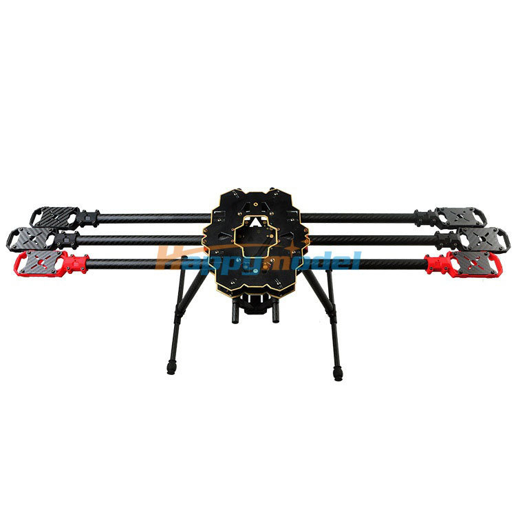 HMF S680 Carbon Fiber 6-Axis Solder PCB Folding Hexacopter Frame Kit with Landing Gear atg tt x4 12 reptile 4 axis glass carbon folding frame kit with landing gear black