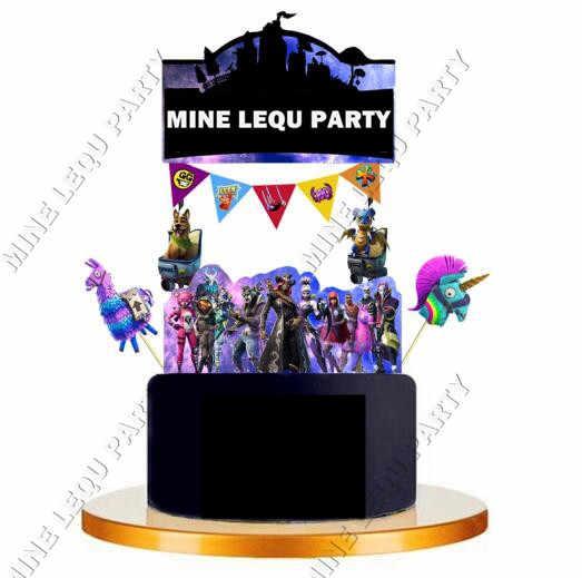 Победная игра лама тема мультфильм вечерние кексы торт флаг выбрать фрукты выбор