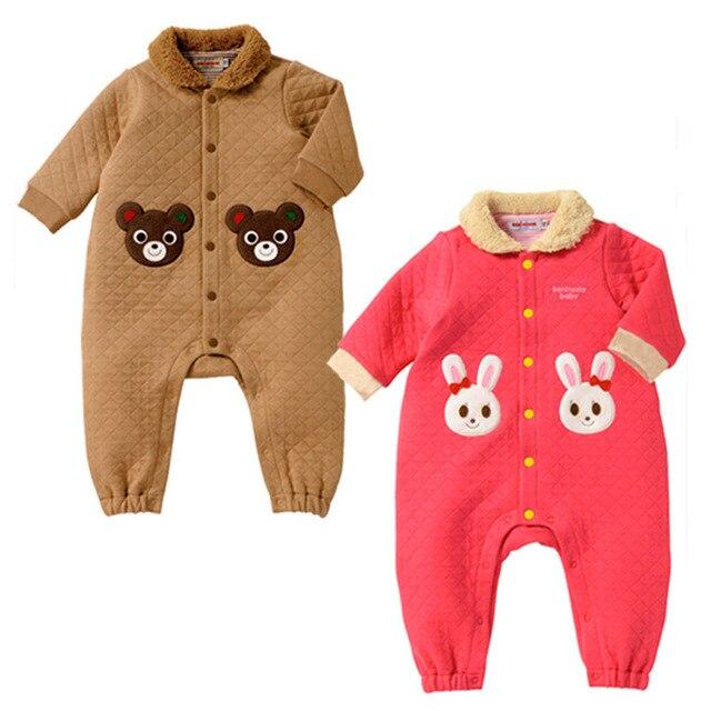 2015 новый горячая распродажа воздушного слоя толстый зимний ползунки мальчиков новорожденных девочек восхождение одежды комбинезон детская одежда