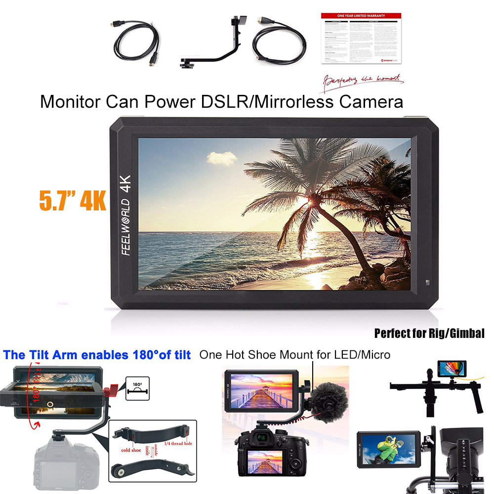 Feelworld F6 5.7 4K HDMI 1080P Video Monitor for Sony Nikon Canon Zhiyun Ronin S Gimbal DSLR/Mirrorless Camera Can Power Camera цена