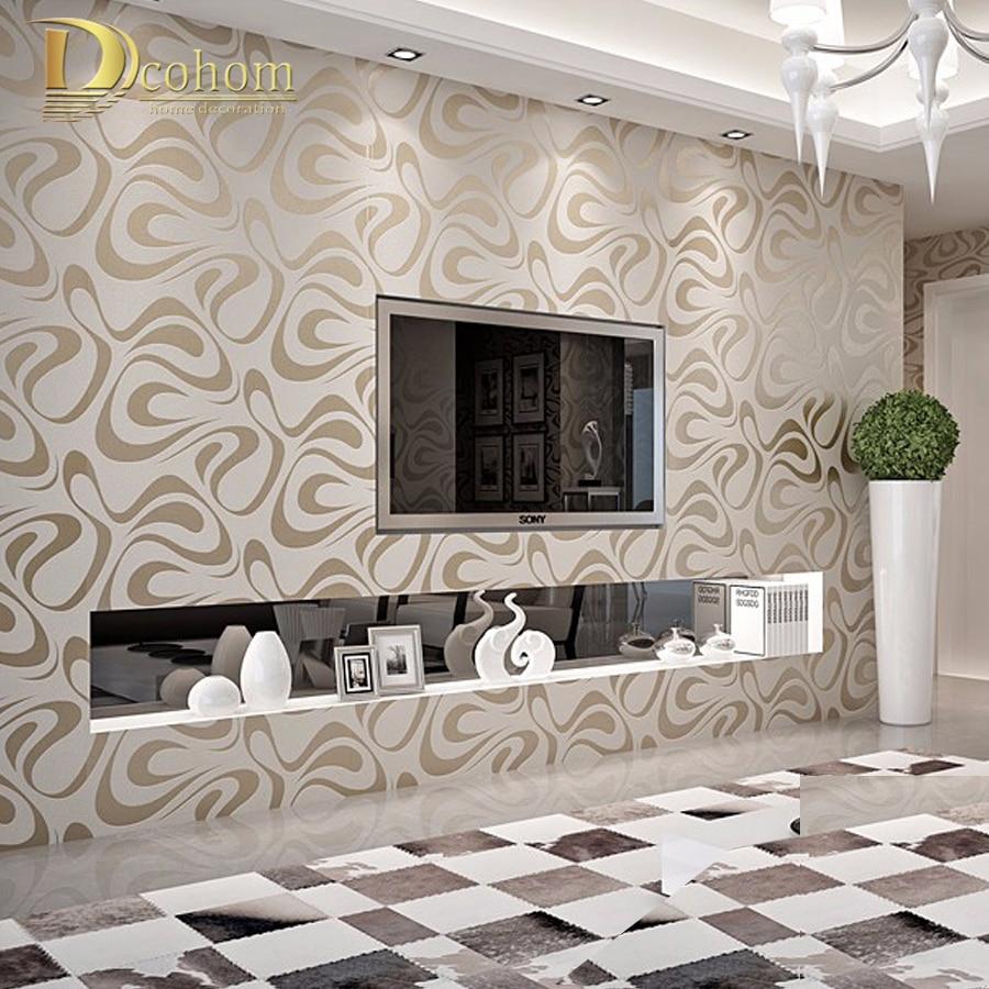 High quality non woven 3d embossed flocking geometric - Papier peint moderne salon ...