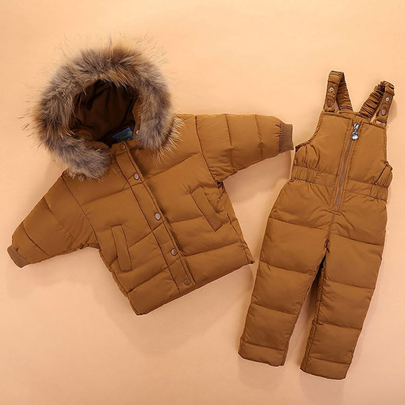 Winter Overalls For Newborn -20 Degree Warm Thick Down Hooded Coats Outerwear Kids Baby Girl Boys Jackets Snowsuit Coat+Bid Pant 2016 winter boys ski suit set children s snowsuit for baby girl snow overalls ntural fur down jackets trousers clothing sets