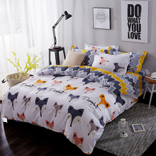 Лучшее. WENSD, Комплект постельного белья, хлопковый пододеяльник, Комплект постельного белья с милой лисой, одно постельное белье, домашний текстиль, домашний текстиль