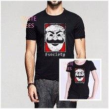 Mode Mr Roboter Fsociety T-Shirt Computer Hacking Männer Frauen O hals Baumwolle T-shirt Symbol Hacker Anonym Virus TV Serie hemd