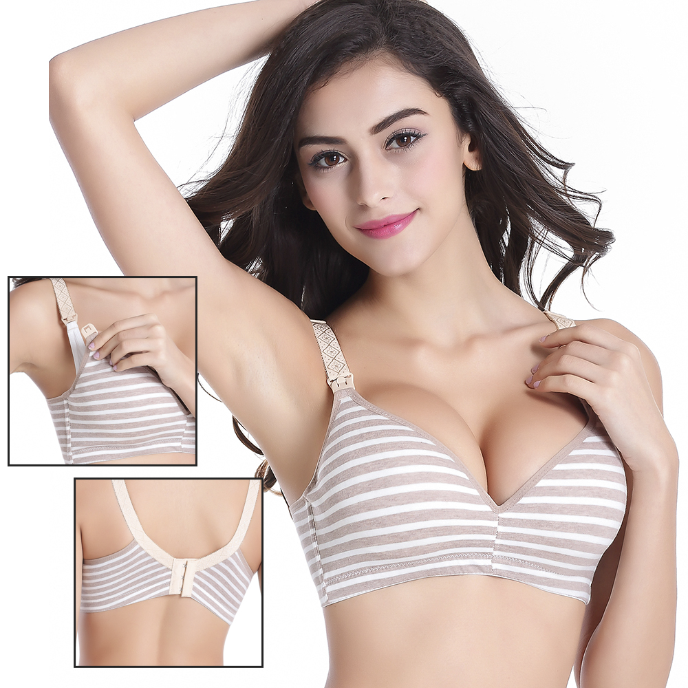 Breastfeeding Cotton Maternity Nursing Bra Sleep Bra For Feeding Mothers Safety Nursing Pregnant Women Open buckle Underwear