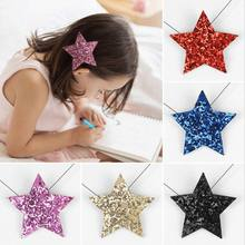 Girls Shiny Star Hairpins Solid Hair Clips Synthetic Leather Barrettes Hair Haar Accessories Children Hairgrip Tiara(China)