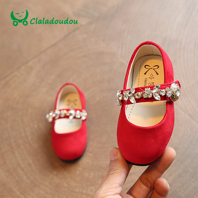 Claladoudou 2017 Baby Girls Shoes Softwalk Shoe For Children Girls Stone Footwear Red Crystal Spring Toddler Girl Spring Shoe