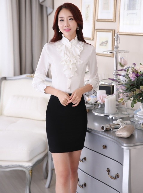 Uniform Design Elegant Slim Fashion Business Women Work Suits With Tops And Skirt Ladies Office Shirts Blouses Outfits Set