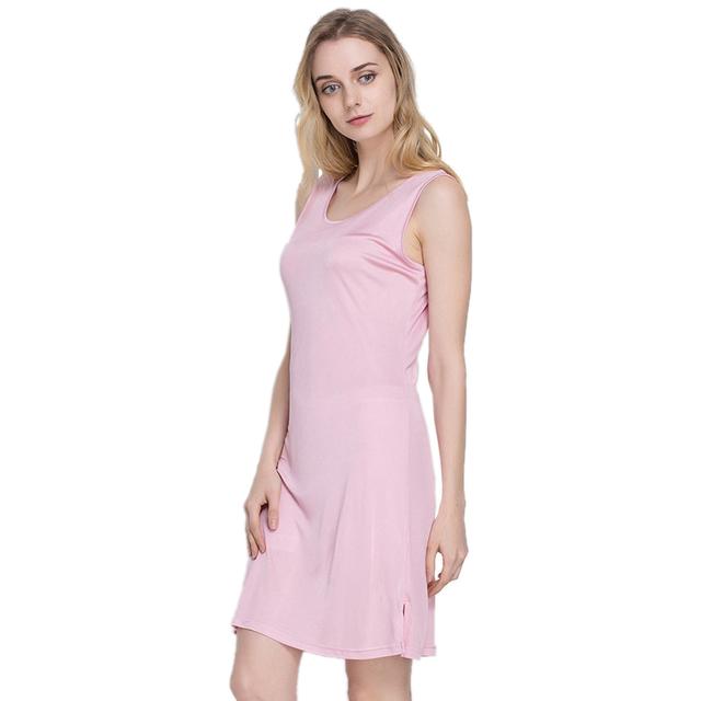 100% deslizamentos de seda pura das mulheres do sexo feminino longo de seda tricô assentamento casual alças de ombro-mulheres sem mangas deslizamento sono dress senhoras