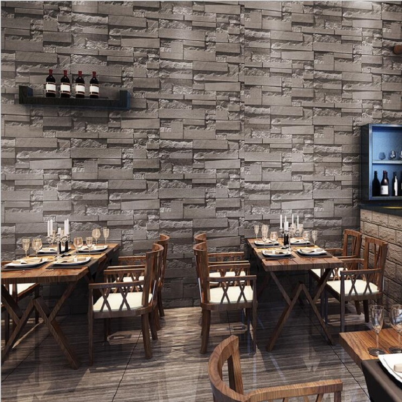 2018 3D retro dark gray Brick brick wallpaper roll PVC for bedding living room TV Background Wall Paper papel de parede WP18005 pvc vinyl thickening white brick wallpaper for walls rustic tv background brick wall paper rolls papel de parede r211