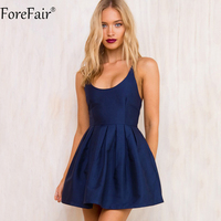 ForeFair Summer Sexy Backless Sling Big Hem Satin Dress Women Red Blue Back Zipper Empire Pleated