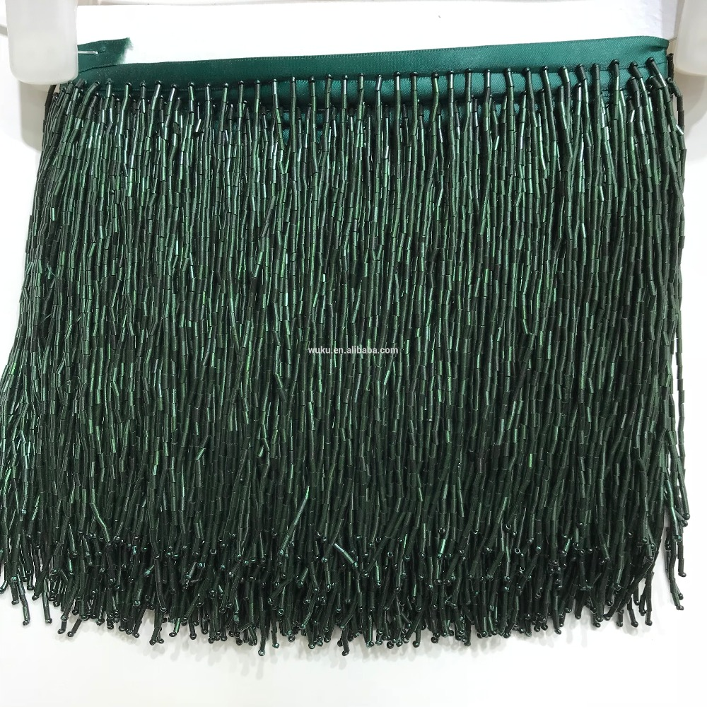bugles beads 15 cm width dancing dress decorative fringe tassel trims chain 5 6 yard a