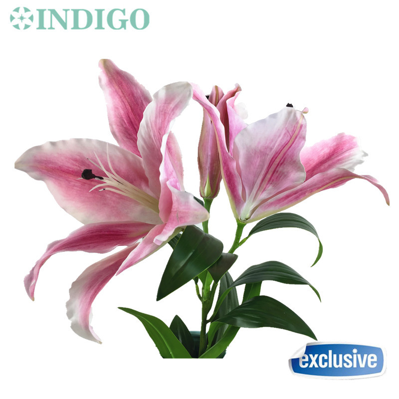 INDIGO- Silk+Latex Coating Real Touch Pink Huge Size 3D Lily Home Artificial BIG Flower Lily Wedding Flower Party Free Shipping