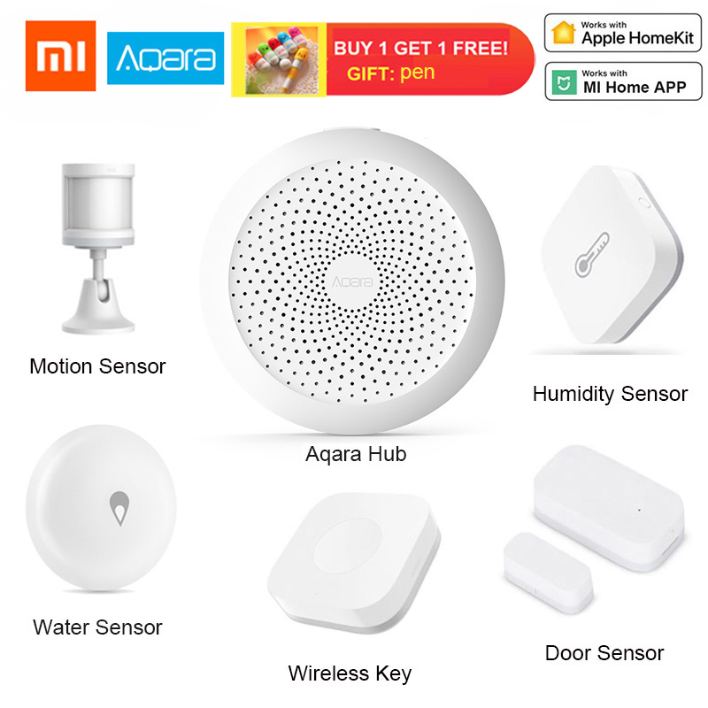 XiaoMi Aqara Smart Home Kits Gateway Hub Lamp Door Motion Sensor Wireless Switch Temperature Humidity Water Sensor Apple Homekit