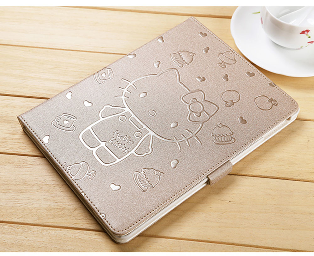 for iPad 9.7 Case 2017 2018 KT Cover Stand PU Leather Tablet Cover New Cute Cart