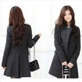 Free Shipping 2013 Woman New Fashion Women's Slim Wool blended Double-breasted Coat Winter Gray/black L/XL QW019