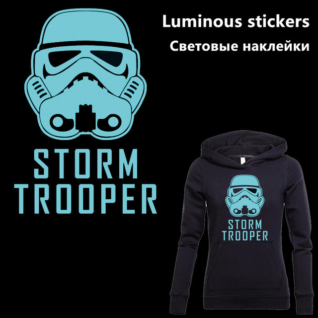 Star wars storm trooper luminous stickers 3121 5cm iron on patches for clothes diy