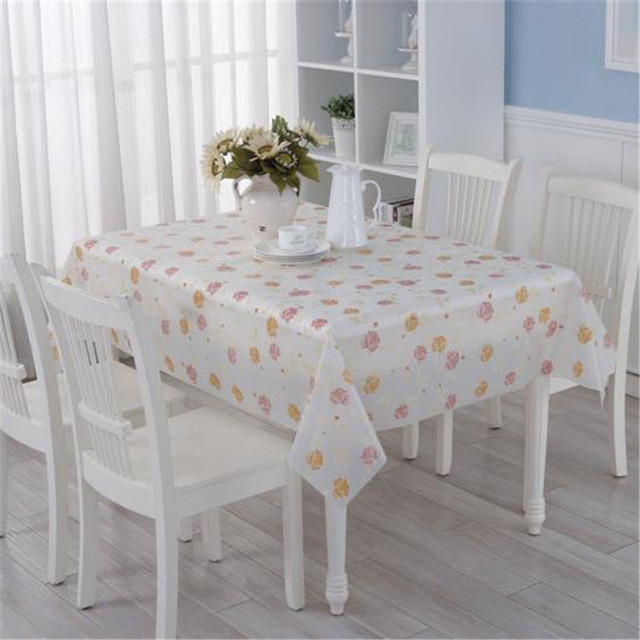 Pvc Table Cloth Fabric Simple Waterproof And Oil Proof Rectangular Disposable Plastic Tablecloth Home Textiletable