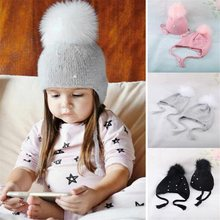 0b3d2ad00 Los niños de moda sombreros de invierno Bebé sombrero para niñas niños  sombreros niño lindo pompón