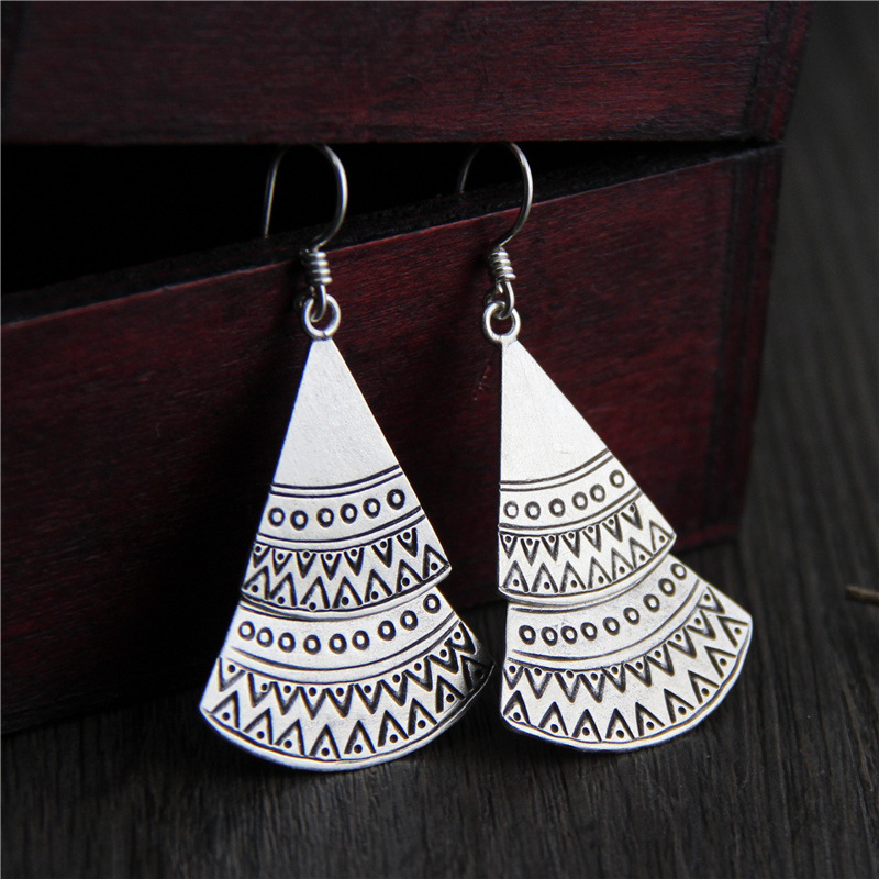 Thailand Chiang Mai Qi silver jewelry wholesale 925 sterling silver handmade folk style retro exaggerated lady Earrings 2018 new rushed men anel feminino chiang mai thailand handmade 925 sterling contracted temperament ring ms male food rings