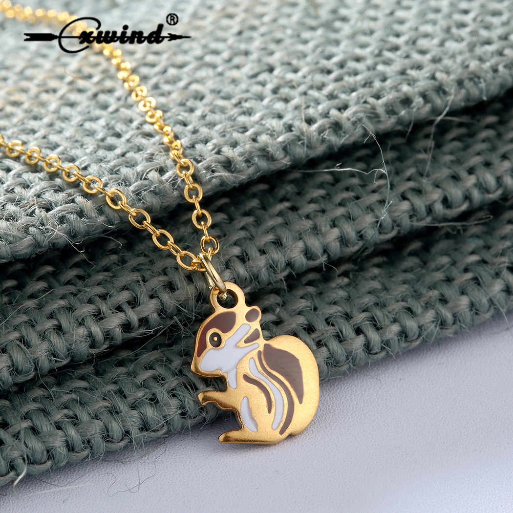 Cxwind Stainless Steel Necklace Lovely Squirrel Necklace Cute Animal Hamster Pendants & Necklaces for women Kids boho Jewelry