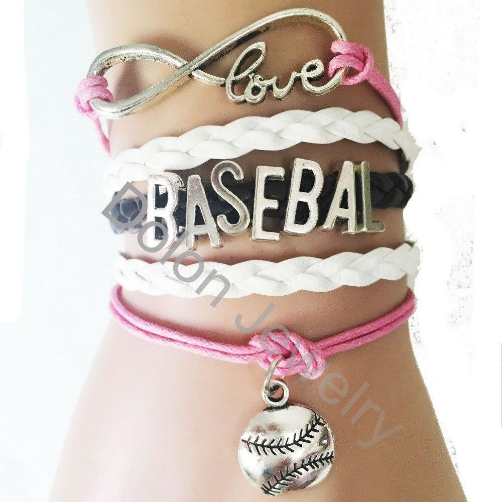 Pink Women Baseball Letter Infinity Love Softball Charm Bracelets Custom  Jewelry(china (mainland)