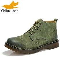 6e571c240 Chilazuban Homens Genuínos Ankle Boots de Couro Moda Homens Lace Up  Calçados Casuais Curto Bota Marrom