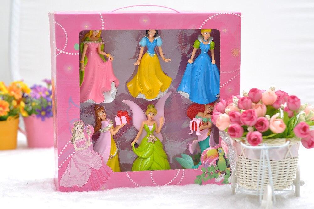 Belle 6 pièces/ensemble 13 cm princesse blanche neige figurines d'action Anime PVC brinquedos Collection figurines jouets AnnO00680H
