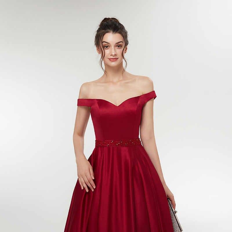 Simple Vestidos Hombro Señoras De Una Línea Noche Formal