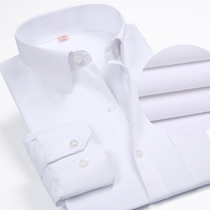 Solid Color Turn-Down Collar Formal Shirts 2