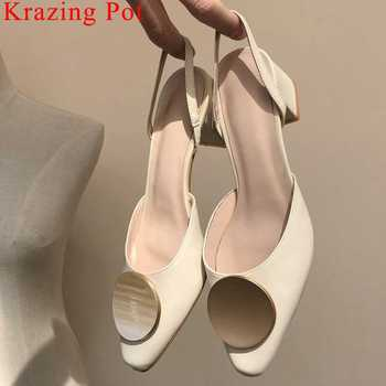Handmade natural leather metal decoration thick high heels slip on women sandals classic square toe slingback summer shoes L53