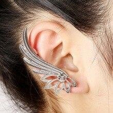 WLP Brand jewelry hot 2017 new gold silver wing earring for women Angel wings club new ear hanging ear clip earrings wing punk