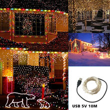 led string lights 10M 33ft 100led 5V USB powered outdoor Warm white/RGB copper wire christmas festival wedding party decoration solar powered 10m 33ft 100led starry copper wire string fairy light moon vine lamp xmas christmas wedding party decor f 35ty0