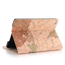Hot Untra-thin Fashion Map Tablet Cover Case for Ipad Mini 4 Wallet Style Flip Bracket Leather Sleeve Auto Wake/Sleep Dec26