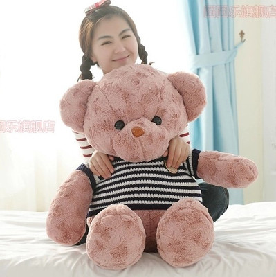 stripes sweater teddy bear doll plush toy bear doll 100cm soft throw pillow , birthday gift  x097 stuffed animal largest 200cm light brown teddy bear plush toy soft doll throw pillow gift w1676
