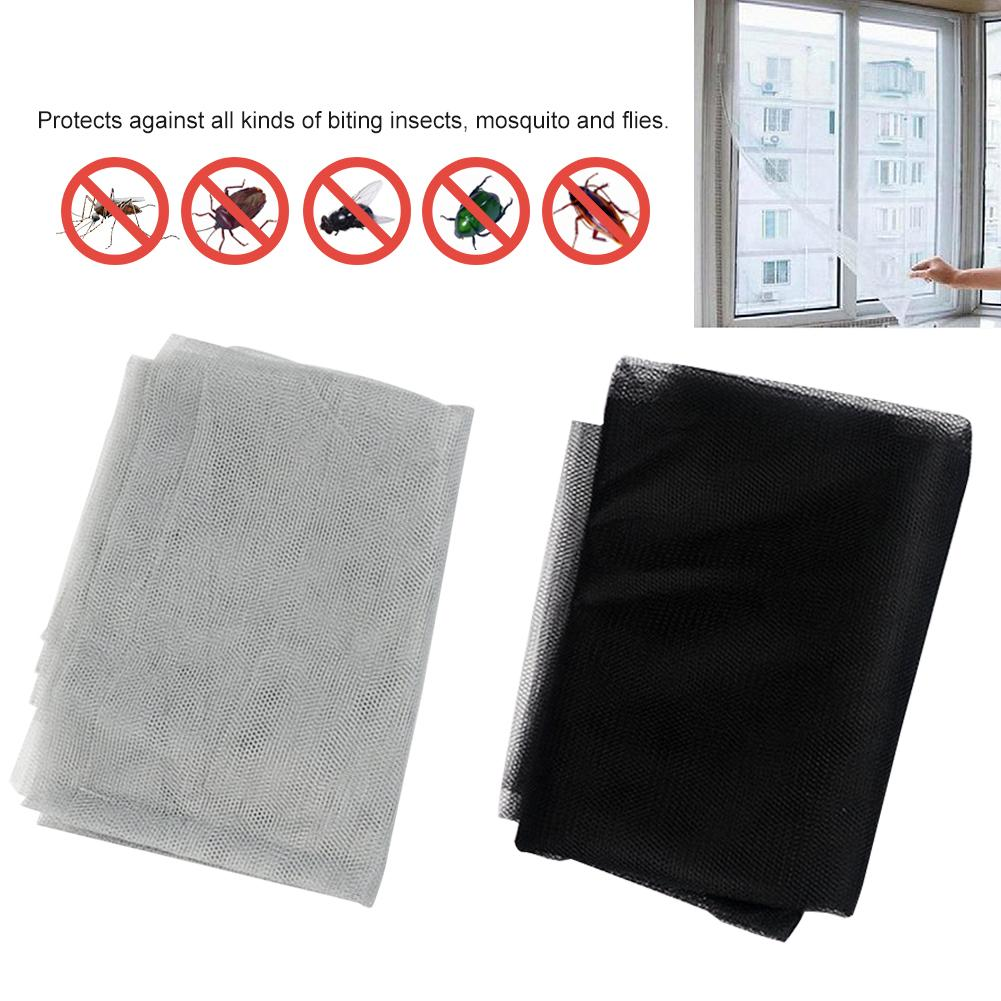 2 Pack New Indoor Insect Fly Screen Nets Curtain Mesh Bug Mosquito Netting Door Window With 2 Rolls Self-adhesive Tape