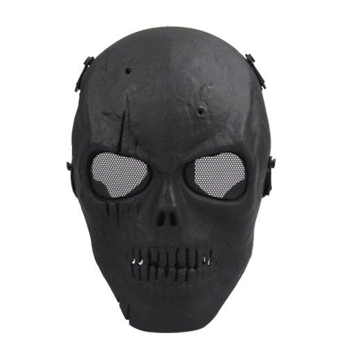 FJS Airsoft Maschera di Teschio Pieno Maschera Protettiva Militare-Nero