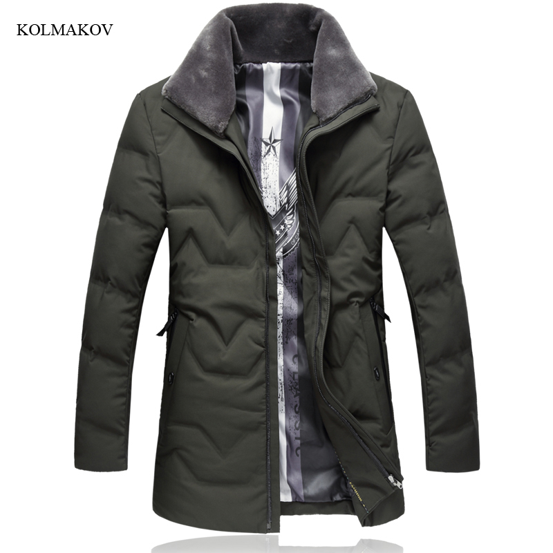 New arrival winter style men boutique warm down coat business casual zippers turn-down collar solid jacket coat plus size L-7XL