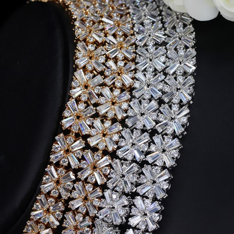 CWWZircons White Gold Color Nusja Luksoze CZ Nushe Crystal dhe Vathë - Bizhuteri të modës - Foto 4