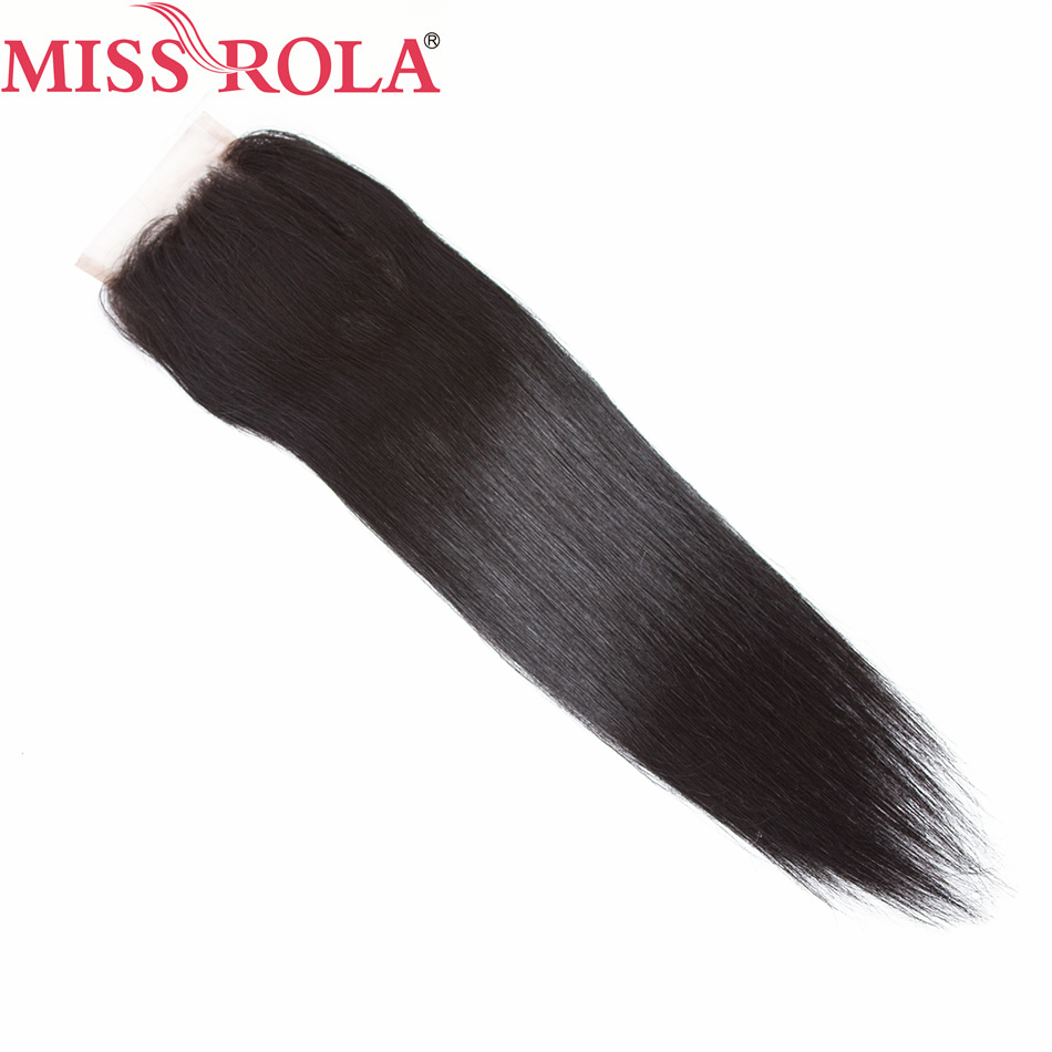 Miss Rola Hair Peruvian Straight Hair 100% Human Hair 4*4 Lace Closure 10-20 Inches 1 Piece Extensions Natural Black Non Remy