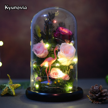 Kyunovia Flamingo Art Ornament Preserve Fresh Roses Glass for Valentine's Day Rose Flower  Immortal Birthday Dried Flower KY73